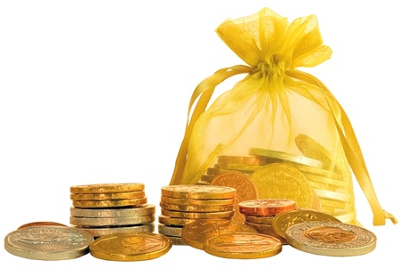 Coin Bag & Stacks of Gold & Silver Chocolate Coins Stock Photo