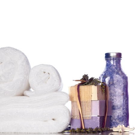 Purple Lavender Bath Soap, Bath Salt, Starfish and White Towels Isolated On White Background