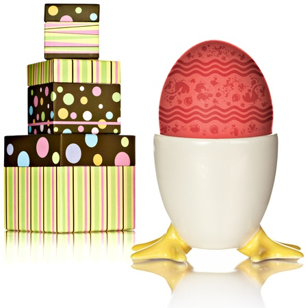 Polka Dot Presents and Easter Colored Egg Cup With Brown Eggs photo