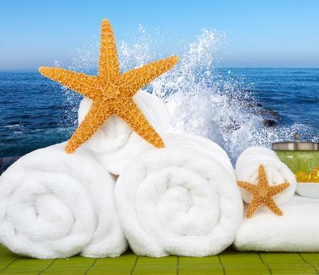 Day Spa Still-life Beads bagno Wtith, sale marino e Starfish On Green stuoia di bamb�