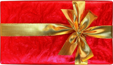 fancy box: Shiny Red Gift With Gold Bow Isolated On White Background