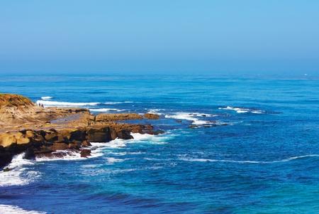 Natural Rock Bluffs Along Pacific Ocean Coastline ~ Image Made During Low Tide Banco de Imagens
