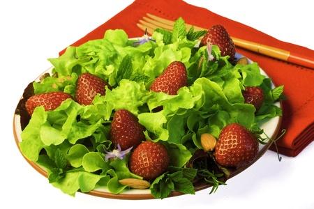 Fresh Summer Green Salad With Strawberries ~ Red Napkin ~ Close up Archivio Fotografico