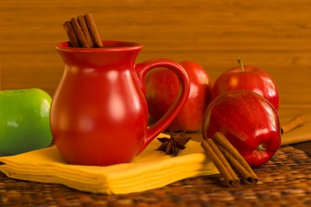 Cinnamon Spiced Apple Cider ~ Spiced Wine and Red and Green Apples photo