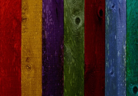 Old Grunge Colorful Orange, Yellow, Purple, Green, Red, Blue Distressed Vintage Wood Texture Panel Background