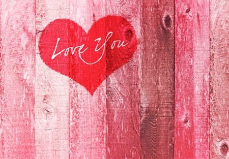 Valentines Day Holiday Love You Heart Greeting On Distressed Vintage Grunge Texture Wood Background Painted In Pink Red White photo