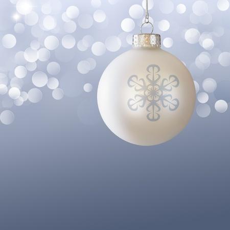 White Christmas Ball Ornament Over Elegant Blue Gray Blurred Christmas Light Bokeh Background  photo