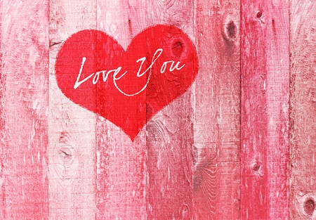 Valentines Day Holiday Love You Heart Greeting On Distressed Vintage Grunge Wood Texture Backtround Painted In Pink Red White Banco de Imagens