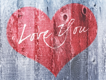 Valentines Day Holiday Love You Heart Greeting On Distressed Vintage Grunge Wood Texture Backtround Painted In Gray Red White photo