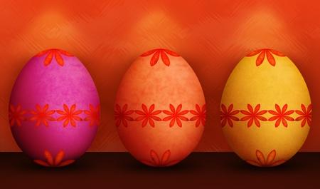 Festive Tango Tangerine Orange, Purple & Yellow Easter Egg Con motivo floreale Retro & Texture Grunge con sfondo verde e illuminazione