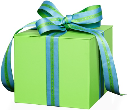 Present In Green Gift Box With Blue &Green Striped & Stiched Ribbon Bow ~ Isolated On White Background ~ Clipping Path Included Archivio Fotografico