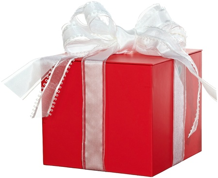 Red & White Present With Elegant Ribbon Bow ~ Gift Box ~ Isolated On White