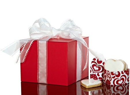 Red & White Present With Elegant Ribbon Bow And Valentines Cookies In A Heart Shaped Gift Box ~ Isolated With Clipping Path photo