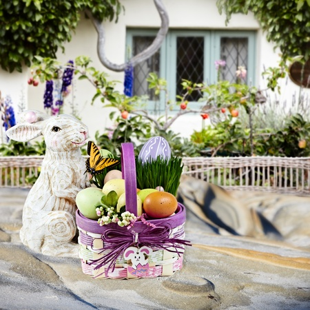 Spring Flowers In English Beach Cottage  ~ Beautiful Spring or Easter Scene With Espalier Apple Tree, Wicker Fence and Enchanted Garden
