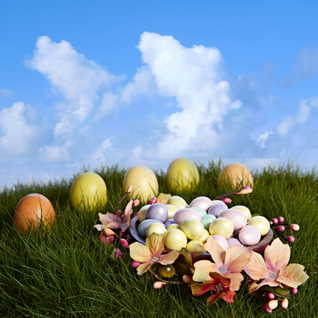 Chocolate Almond Candy Easter Eggs In Yellow, Pink, Purple &Blue Sitting On Natural Growing Grass With Green & Brown Easter Eggs And Pussy Willows With Orange  Flower Blossoms ~ Blue Cloudy Sky photo
