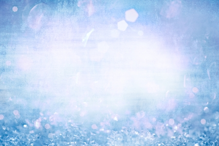 Grunge Winter Christmas Background With Sparkling Ice Crystals ~ Vintage Frozen Aqua Turquoise Robins Egg Blue With White Frosty Snow Flakes