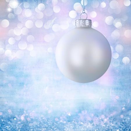 Vintage White Christmas Ball Ornament Over Elegant Grunge Robins Egg Blue, Purple, Pink Christmas Light Bokeh & Crystal Background