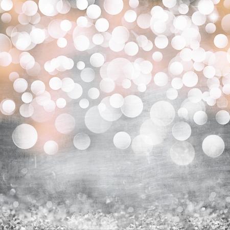 Elegant Grunge Silver, Gold, Pink Christmas Light Bokeh   Vintage Crystal Background Texture Archivio Fotografico