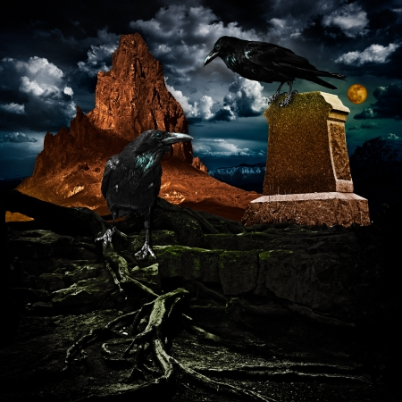Spooky Halloween Haunted Red Mountain Cemetery With Scary Grave Site Tomb, Dead Twisted Tree Roots & Evil Ravens photo