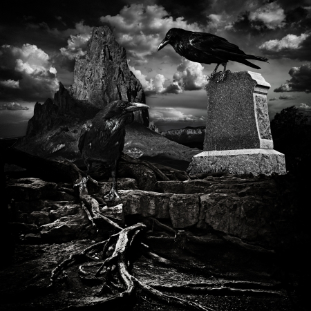 Spooky Halloween Haunted Mountain Cemetery With Scary Grave Site Tomb, Dead Twisted Tree Roots & Evil Ravens photo