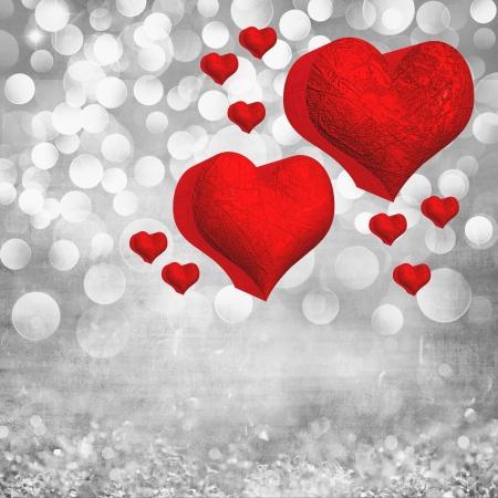 Carta di San Valentino con due cuori rossi in metallo 3D ed elegante Vintage sfondo di cristallo di luce strutturato