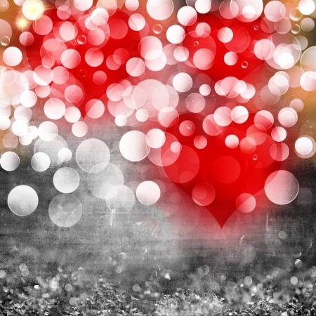 Elegante Grigio o argento Rosso San Valentino Con Cuori Luce Bokeh Bokeh di cristallo di cristallo di luce grunge background texture