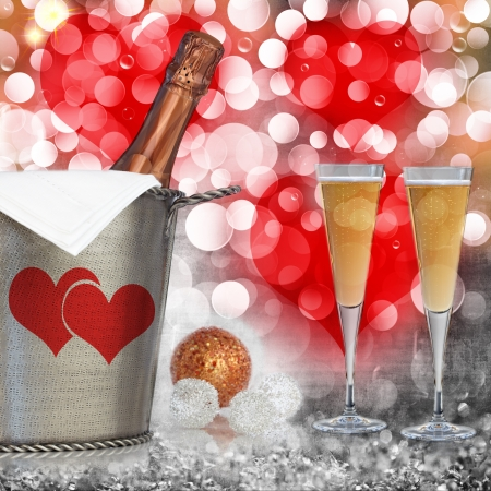 Champagne In Vintage Silver Bucket With Hammered Texture, Bronze Ornaments,   Glasses Of Champagne Wine Over Elegant Grunge Silver, Gold, Purple, Pink,  Red Valentines Heart Light Bokeh   Crystal Background