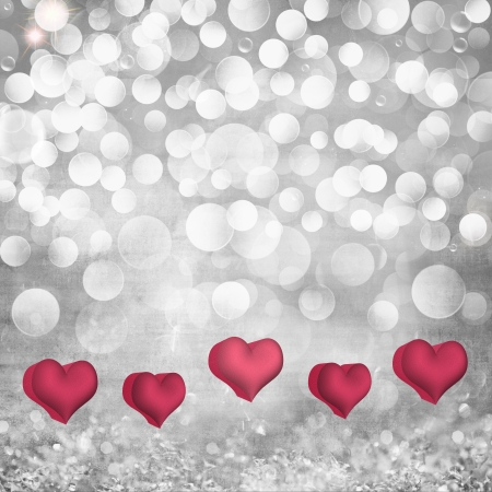 Elegant Grunge Silver, Gold, Purple Light Bokeh & Crystal Vintage Texture Background  With Pink, Red Valentines Day Hearts