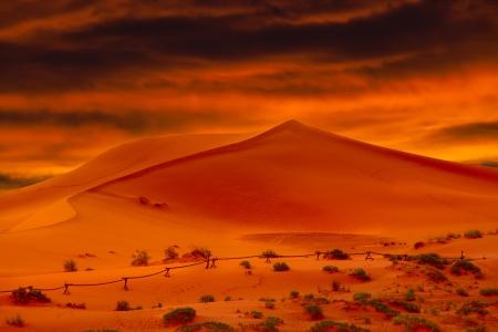 Hot Glowing Orange Desert Sand Dunes At Sunset