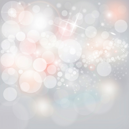 Silver Lights And Stars On Grey Background Abstract Christmas Background Wth Glowing White And Pink Snow