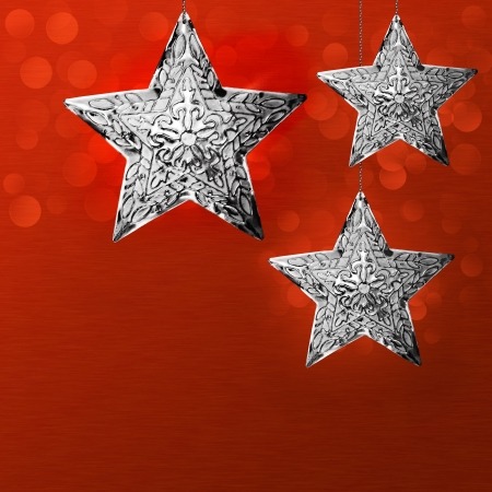 Silver Grey North Star Snowflake Ornaments  Archivio Fotografico