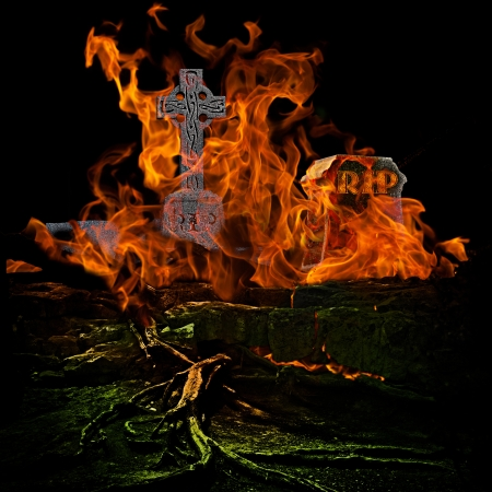 Spooky Graveyard With Burning Fire photo