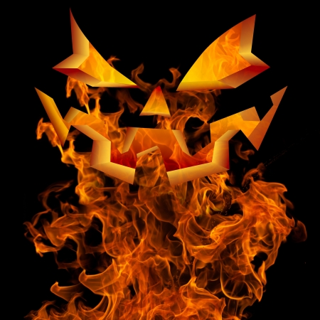 Halloween Background Design With Scary Flaming Jack O Lantern Pumpkin Face