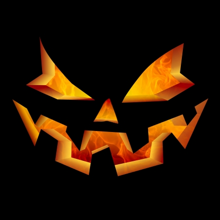 Scary Evil Smiling Fire Breathing Holiday Carved Jack O Lantern Halloween Pumpkin Face  photo
