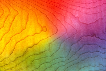 Light Wood Bacground Texture Curly Maple, Flame Pattern, Figured Lumber Grain Stained Red, Orange, Yellow, Purple, Pink, Blue   Green Rainbow Colors Archivio Fotografico