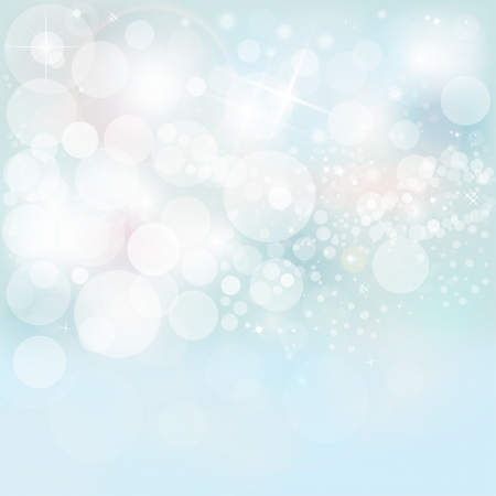 Beautiful Winter Lights, Snow   Stars On A Blue Holiday Background