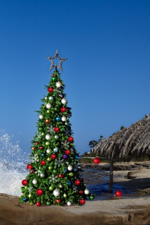 palapa: Christmas Tree On Beautiful Tropical Beach Thatched Palm Palapa House Decorated With Christmas Ornaments   Lights, Holiday Background With Copy Space For Text
