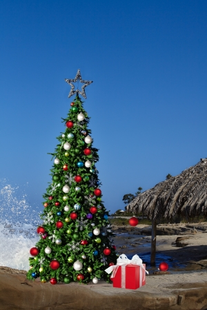 Christmas Tree On Beautiful Tropical Beach Thatched Palm Palapa House Decorated With Christmas Ornaments   Lights, Holiday Background With Copy Space For Text