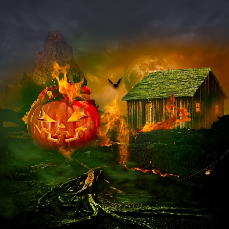 carved pumpkin: Smiling Carved Jack O Lantern Halloween Pumpkin Face Glowing Flaming Interior Scary Evil Spooky Fire Flaming Interior Burning Golden Orange Horror Specter Creepy Haunted Eyes Laughing In Black Night Halloween Background Copyspace For Text Message Flyer Or Stock Photo