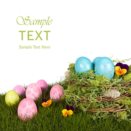 Robins Blue Easter Eggs In Bird Nest, Green Grass With Pink & Purple Holiday Decorations Stock Photo