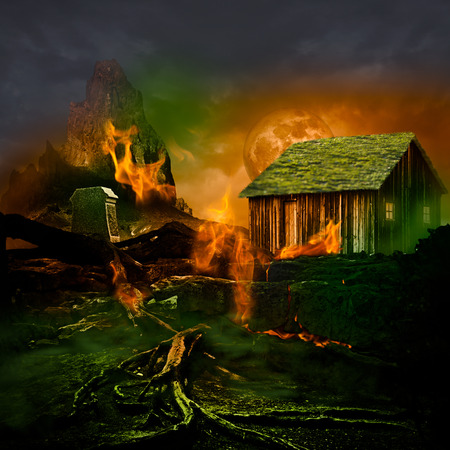 Horror Scene   Scary Mountain Graveyard With Tomb Stone, Haunted House, Full Moon And Twisted Dead Tree Roots Burning In The Evil Green Fog Of A Dark Stormy Night