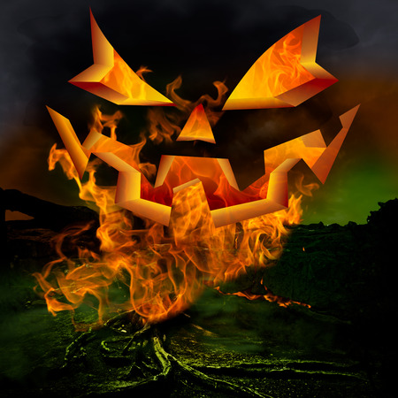 Horror Scene   Scary Jack O Lantern Pumkin Face And Twisted Dead Tree Roots Burning Inferno Hell Fire In The Evil Green Fog Of A Dark Stormy Night