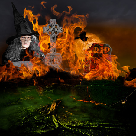 Horror Scene   Scary Evil Witch With Old Ugly Face In Graveyard With Twisted Dead Tree Roots Burning Satanic Fire From Hell In Creepy Old Cemetery With Green Fog On A Dark Stormy Night With Full Moon