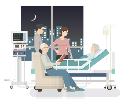 Inside the hospital room: conversation between patient and family, night time Illustration