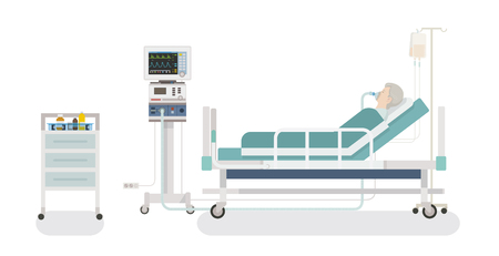 Inside the hospital room: a patient lying in bed with a ventilator