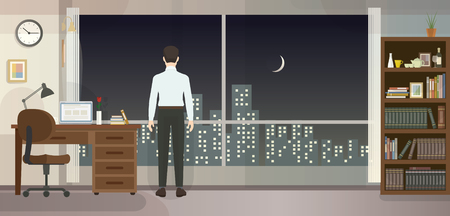 Office man, Wide window with city view Illustration