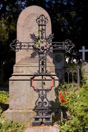 iron cross: old grave with iron cross