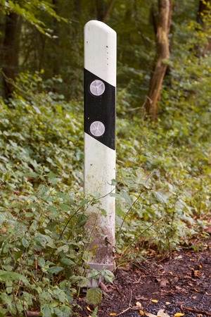 German road boundary pillar at the edge of the forest