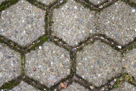 Detail of floor covering from hexagonal paving stones Standard-Bild