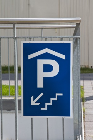 Traffic sign: access to underground parking